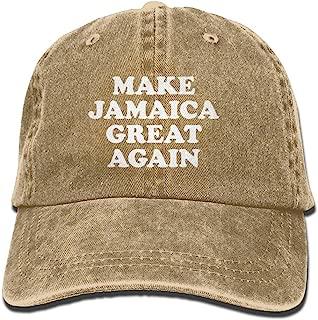 Make Jamaica Great Again Mom Hat Baseball Cap Trucker Cap Washed Denim Cotton Adjustable Natural
