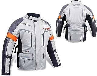 JET Motorcycle Motorbike Jacket Protective Textile Armoured Waterproof SILVER GREY (Large (40
