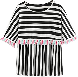 Romwe Women`s Short Sleeve Colorblock Striped Print Fringe Trim Ruffle Tee Blouse Top