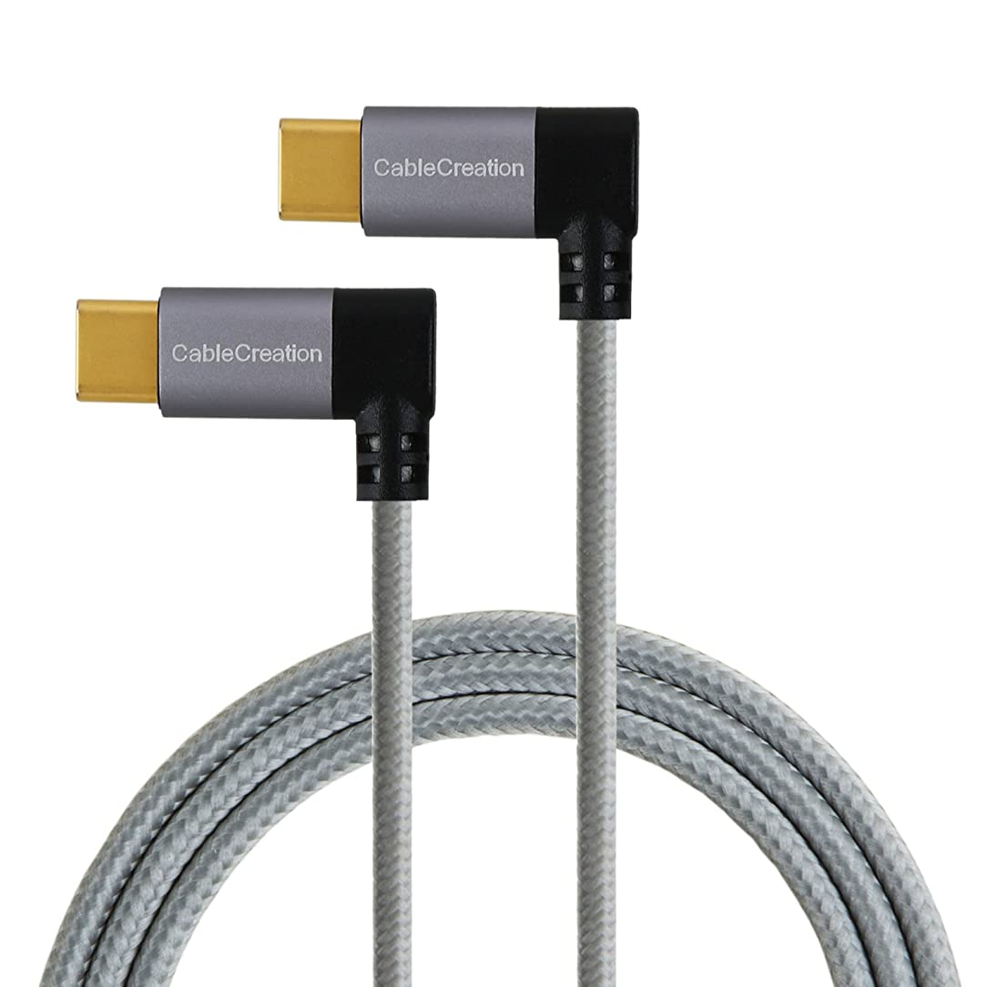 USB-C to USB-C Right Angle Cable, CableCreation 4 ft Dual 90 Degree USB Type C Braided Cable,Compatible MacBook(Pro), Nexus 5X/6P, Galaxy S10 S9 & New USB-C Devices,1.2M/Space Gray with Aluminum Case