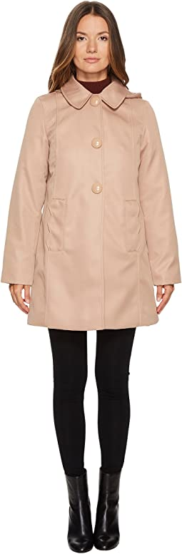 Rain Button Front Hooded Jacket