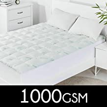 Dreamaker Bedding 1000 GSM Bamboo Covered Memory Resistant Ball Fiber Mattress Topper - Covered Underlay Protector - Fully Fitted - All Sizes - All Season - Hypo Allergenic - Breathable - Dust mite Resistant - Anti Bacterial(Queen)