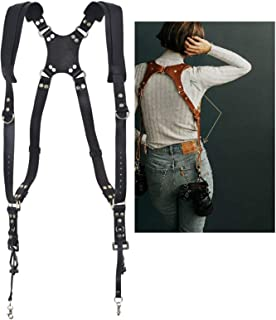 Camera Accessories Quick Release Anti-Slip Dual Shoulder Genuine Leather Harness Camera Strap with Metal Hook for SLR/DSLR...