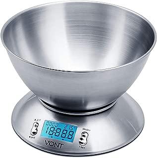 Vont Digital Kitchen Scale/Food Scale, Detachable Bowl Design, Gorgeous Stainless Steel Design with Alarm Timer & Temperature Sensor