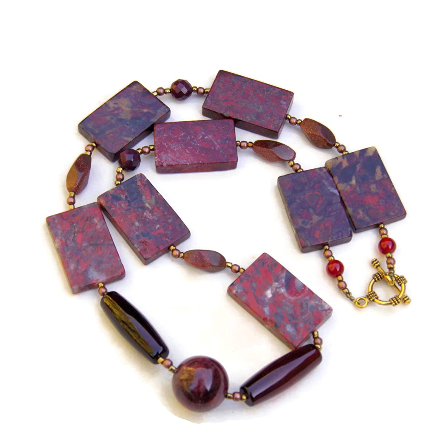 Terracotta Red Poppy Jasper Max 78% OFF Slab Long Necklace 22 Super Special SALE held Geometr inches