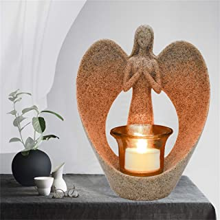 Angel Statue Memorial Gifts, Tealight Candle Holder Sympathy Gift with Flickering Led Candle Angel Figurines in Memory of ...