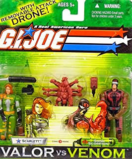 G.I. Joe A Real American Hero 4 Inch Tall Action Figures Valor vs Venom 2 Pack Set - Scarlett versus Sand Scorpion