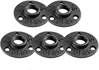 5 Pack Floor Flange 1/2-Inch Malleable Threaded Plumber Fitting Industrial Pipe Iron Flanges for DIY Furniture Decor