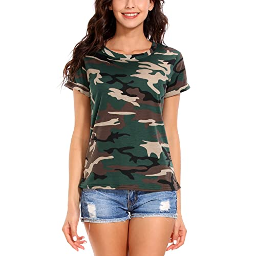 418c7a89c7 ISASSY Womens Casual Cotton Camouflage Short Sleeve Tops Shirt T-Shirt  Blouse