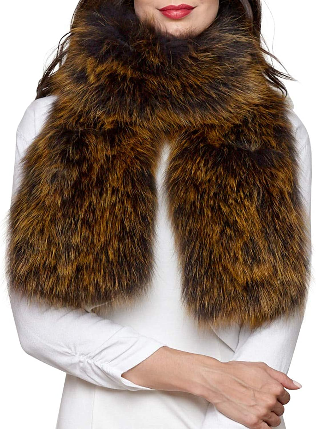 Frr Wide Knit Fox Fur Scarf with Pockets
