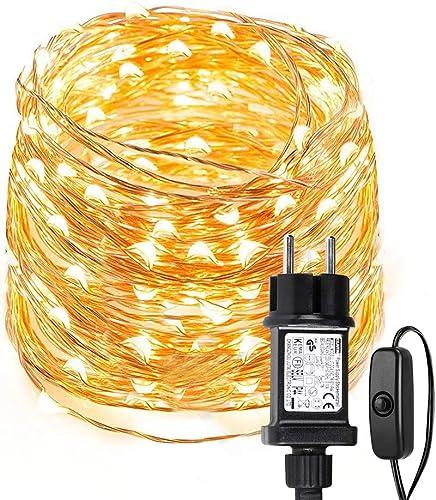 LE Lighting EVER Guirlande Lumineuse 10m, 100 LED en Cuivre, Imperméable IP65, Lumière Etoilée, Blanc Chaud, pour Déc...