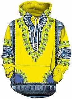 New Couple Hoodie, African Print Dashiki Long Sleeve Fashion Hoodies Sweatshirts with Pocket, Unisex Plus Size Pullovers