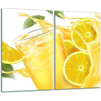 Herdabdeckplatten 2 Teilig 2x30x52 cm Ceranfeldabdeckung K/üche Elektroherd Induktion Herdschutz Spritzschutz Glasplatte Schneidebrett gelb Blume TMK