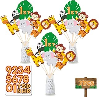 Jungle Safari Birthday Party Centerpiece Sticks, DIY Jungle Animals Table Decorations Jungle Cutouts for Baby Shower, Birthday Photo Props Decorations Set of 21