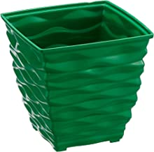 Klassic Plastic Square Planter Set (Small, Dark Green, Pack of 4)
