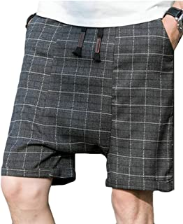 Mens Elastic Waist Plaid Drop Crotch Cotton Shorts