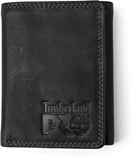Timberland PRO mens Leather RFID Trifold Wallet With ID Window Wallet