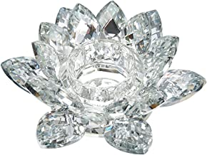 "Benzara Clear Crystal Lotus Flower Candle Holder, Silver Candleholder, 6"" x 6"" x 2"""
