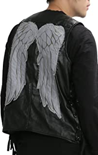 Mens Daryl Dixon Vest with Wings PU Leather Jacket Costume Black