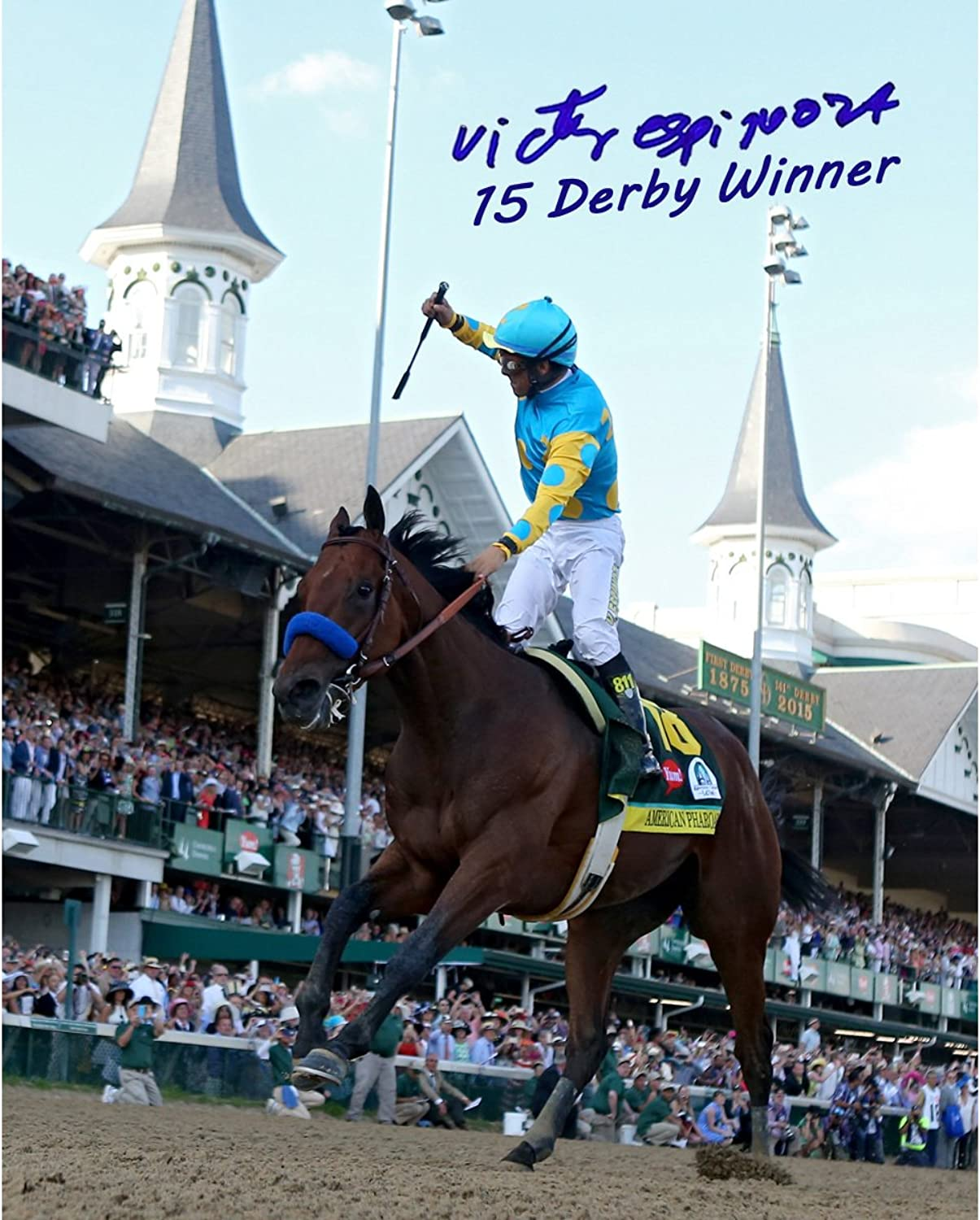Steiner Sports Victor Espinoza Signed 2015 Kentucky Photo with Derby Winner, 8  x 10
