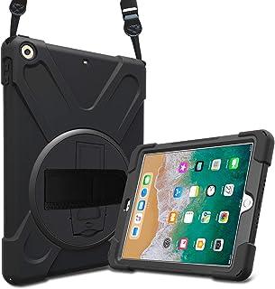 ProCase Bumper iPad 9.7 2018 2017, Carcasa Rugosa con Soporte Rotativo Asa de Mano Correa de Hombro, Funda Robusta Antichoque para iPad 9.7 6.ª 5.ª Generación -Negro