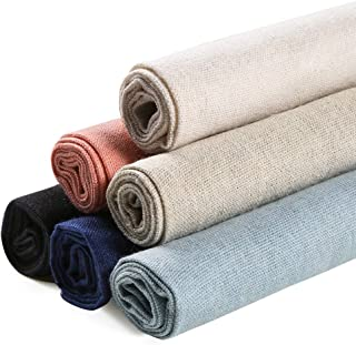 Caydo 6 Pieces 6 Colors Linen Needlework Fabric for Embroidery Project, 19.6 by 19.6 Inch