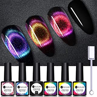 UR SUGAR 9D Cat Eye Gel Nail Polish Magic Aurous Phantom Magnetic Chameleon Gel 2 Colors Kit with 1 Bottle Black Color Coat Gel Top Coat and Base Coat 1Pc Magnetic Stick