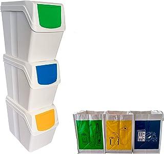 Wellhome Prosperplast Lot de 3 bacs de 60 l Blanc 39 x 23 x 33 cm avec 3 sacs de recyclage pour extérieur, 60 + 75 l