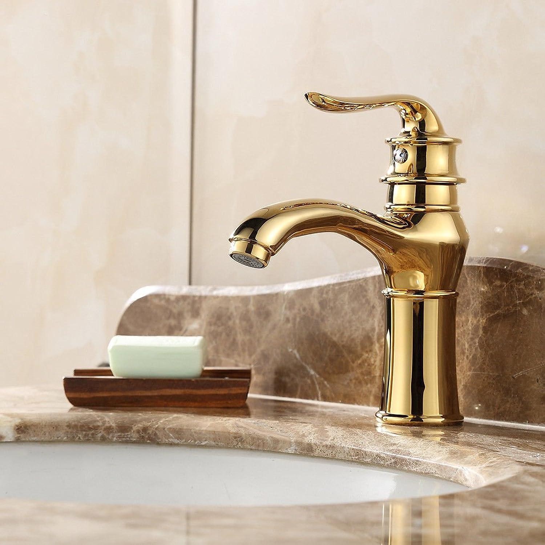 AQMMi Waschtischarmatur Wasserhahn Waschbecken VerGoldung Einzelnen Hebel 1 Bohrung Messing Einhebelsteuerung Armatur Badarmatur Mischbatterie Waschbeckenarmatur