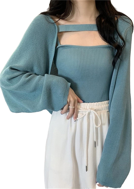 Esdlajks Sweaters for Women Women Sweater Loose Long-Sleeved Sweater Women's Vest Jacket Two-Piece Suit (Color : Blue Set, Size : ONE Size)