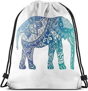 Lawenp Bolso con cordón de Elefante Azul Bolso de Hombro Mochila con Estampado Mochila de Viaje Bolsas de Gimnasio Mochila con cordón Ligero para Viajar Gimnasio Almacenamiento de Yoga Regalo