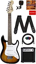 Fender Squier 3/4 Size Kids Mini Strat Electric Guitar Learn-to-Play Bundle w/ Amp, Cable, Tuner, Strap, Picks, Fender Pla...