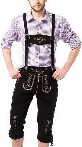 muchas concesiones Tannhauser 0108-01-46 - pantalones de cuero Pedro de ante calzón calzón calzón corto, negro  precios mas baratos
