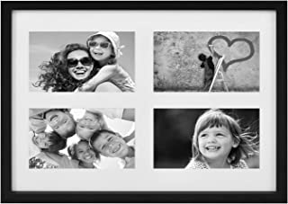 BD ART 11x14-Inch 4 Aperture Black Collage Picture Frame with Mat for 4 Photos 4x6-Inch