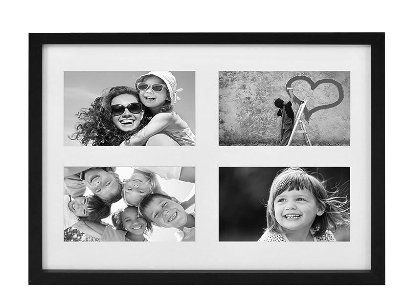 額縁 多面 多窓 11x14インチ(28x35.5cm) 4アパーチャー写真フォトフレーム,KGのサイズ,4x6(10x15cm)インチの写真なら4枚), ブラック