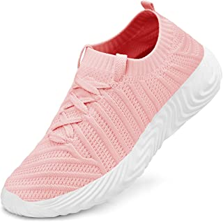Feetmat Women's Fashion Sneakers Slip on Shoes Lace up Sneakers Pink Size: 9 US