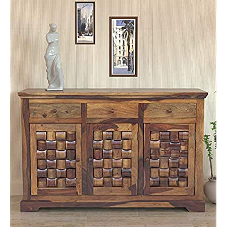 MH Decoart Solid Sheesham Wood Sideboard Cabinet with 3 Drawer and 3 Door Storage for Living Room Bedroom Hall Kitchen Home Office Wooden Furniture (Provincial Teak Finish)