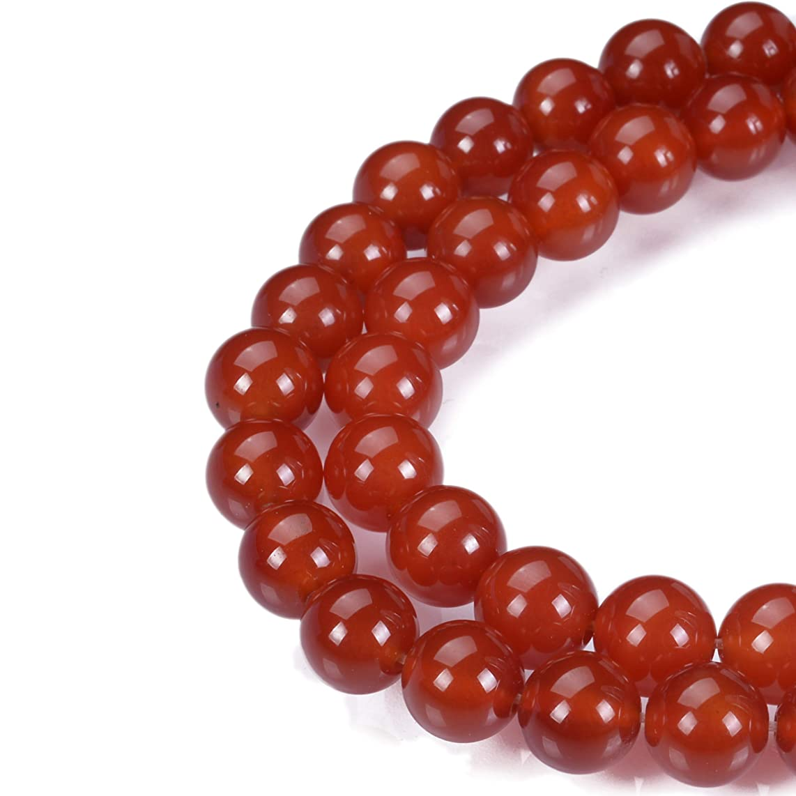 MOKYYus Natural Onyx Gemstone Loose Beads, 8 mm Red Agate Round Beads, Smooth Surface, Healing Power Crystal Energy Stone for Jewelry Making Accessories