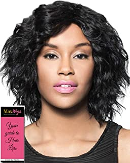 Chance Wig Color 1 Black - Foxy Silver Wigs Trendy Mid-Length Bob Human Hair Loose Curls African American Average Cap Bundle w/MaxWigs Hairloss Booklet