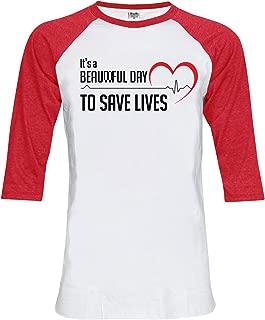 Topcloset It's A Beautiful Day to Save Lives Unisex Baseball T-Shirt