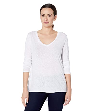 Dylan by True Grit Long Sleeve V-Neck Tee Knit Front with Eyelet and Embroidery Back (White) Women
