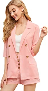 Women's Open Front Work Thin Blazers and Shorts 2 Piece Suit Set
