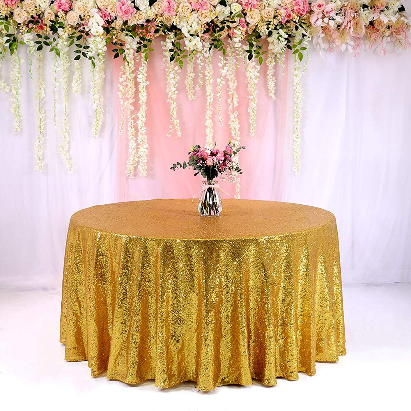BalsaCircle TRLYC 132-Inch Round Sequin Tablecloth for Wedding Happy New Year 6FT Table Cloth-Gold