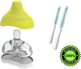 Kiinde Active-Latch 2-Pack Nipple with Case in Slow Flow Plus Kiinde Nipple Brushes (Set of 2) Bundle of 4 Products