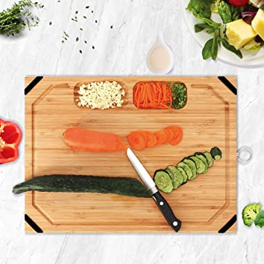 Utoplike Unique Bamboo Cutting board, Large Wooden Chopping board with non slip rubber grips