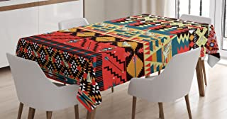 Ambesonne Ethnic Tablecloth, Classic Traditional Pattern Image Bird Flower Arrow Natural Ethnic, Dining Room Kitchen Rectangular Table Cover, 60