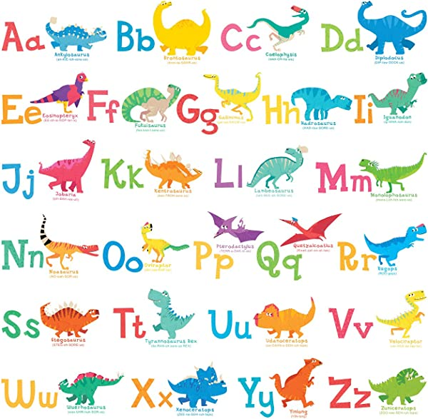 Decowall DW 1803 A Z Dinosaur Alphabet Wall Stickers Wall Decals Peel And Stick Removable Wall Stickers For Kids Nursery Bedroom Living Room