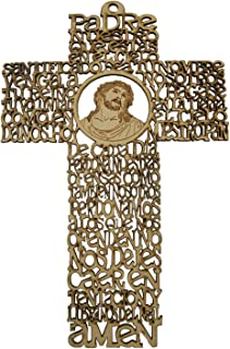 Needzo Decorative Two-Toned Wooden Orthodox Spanish Our Father Prayer Hanging Wall Cross, 8 1/2 Inch (Punched Wood)