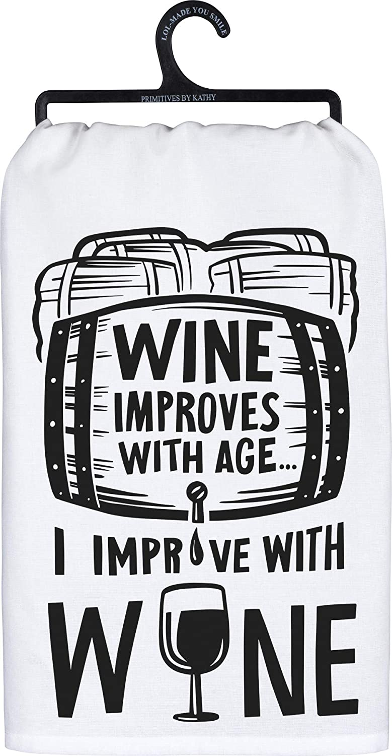 Primitives by Kathy Dish Towel Wine Improves with Age Decor