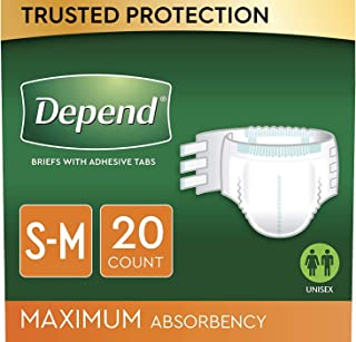 Depend Incontinence Protection with Tabs, S/M, 3 Packs of 20 (60 Count Total)